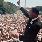 Martin Luther King on the steps of the Lincoln Memorial (August 1963)