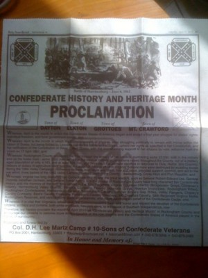 Post image for SCV Camp in Harrisonburg, Virginia Issues Proclamation