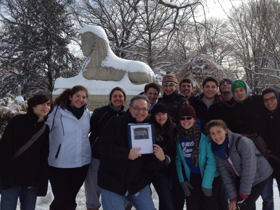 With students at Mount Auburn Cemetery, Cambridge, MA