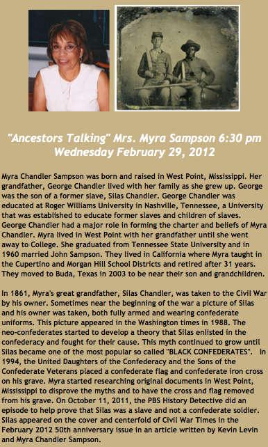 Post image for Myra Chandler Sampson To Discuss Silas Chandler