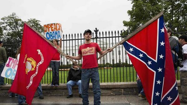 Confederate flag in front of White House