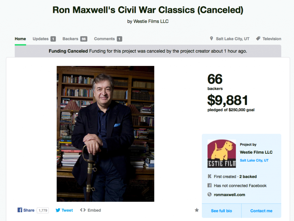Ron Maxwell Kickstarter Canceled