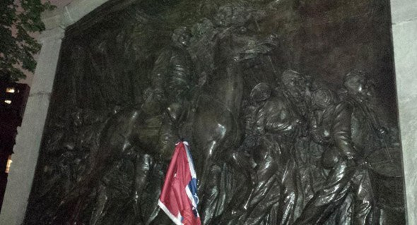 Shaw Memorial, Confederate Flag
