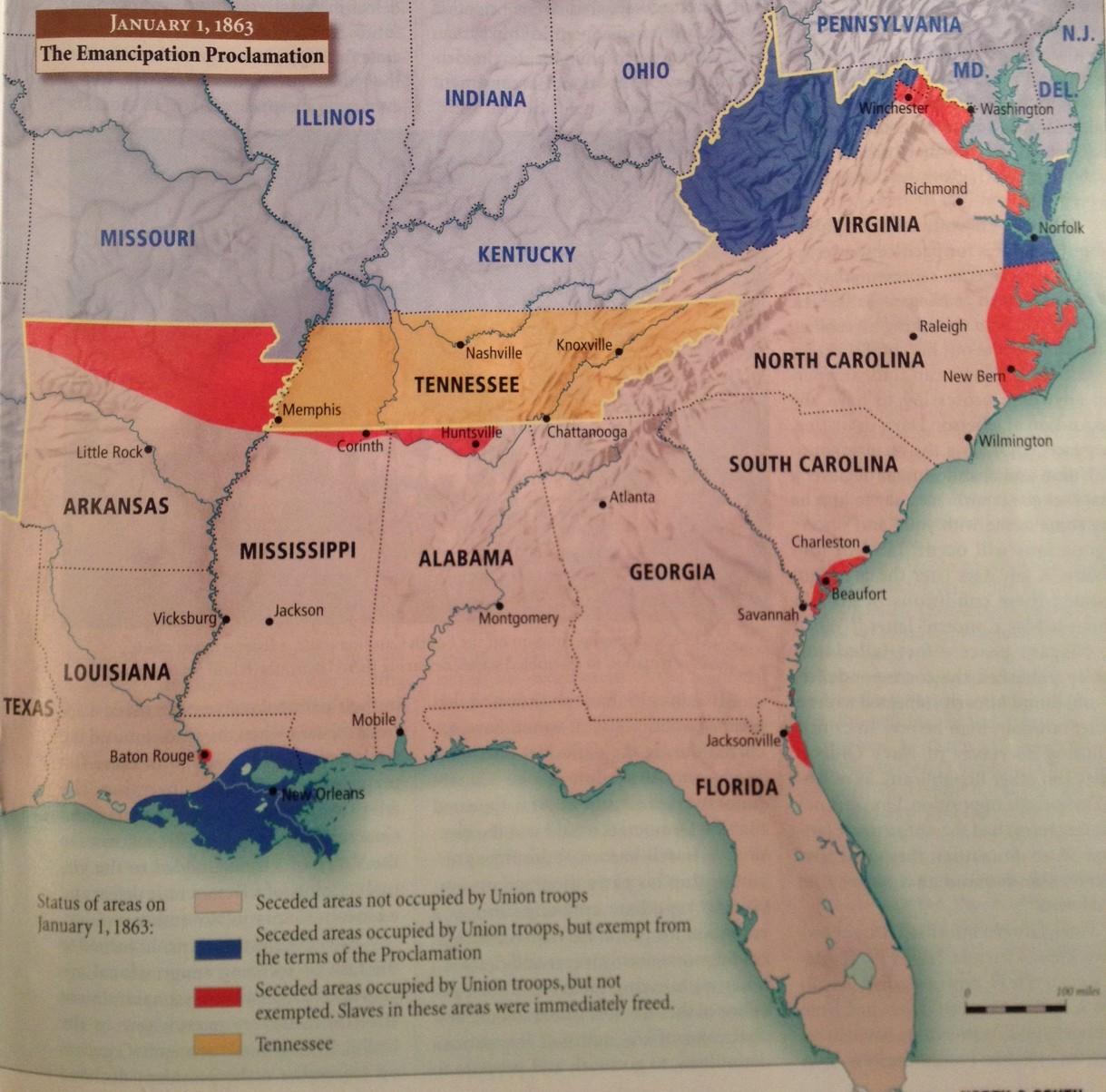 Map Emancipation Proclamation