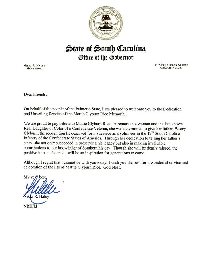 Haley - Clyburn Proclamation
