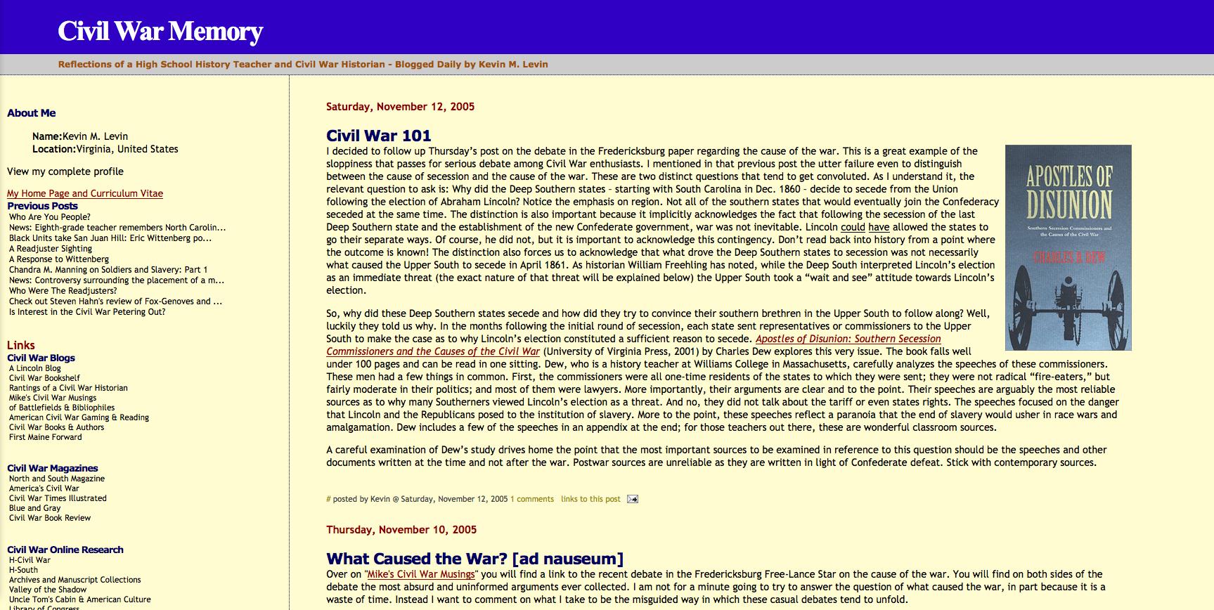 Screenshot of Civil War Memory (November 2005)