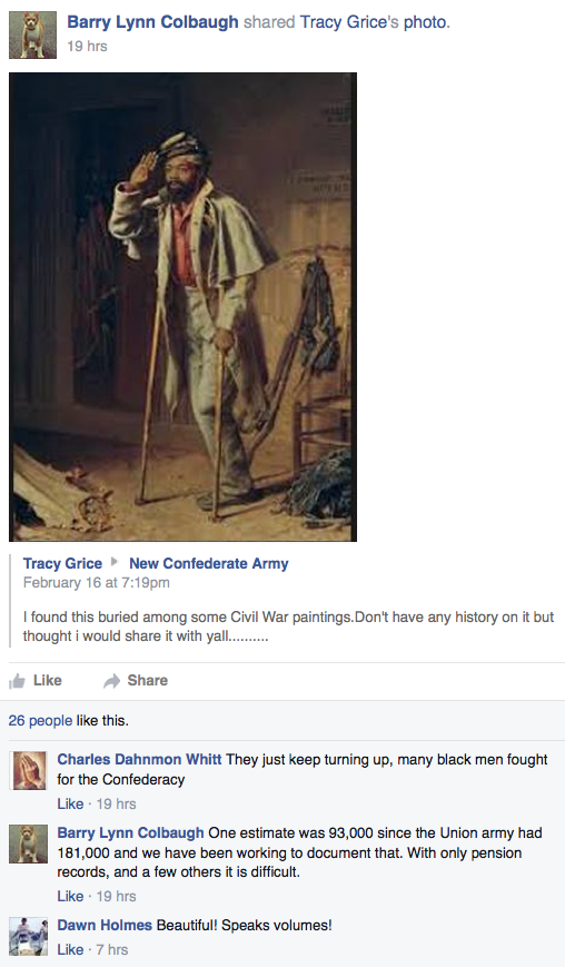 Facebook, Black Confederate